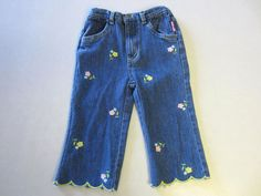 Strawberry Shortcake Jeans 4T Capri Embroidered Flowers Girl CLEARANCE SALE #StrawberryShortcake #CapriJeans