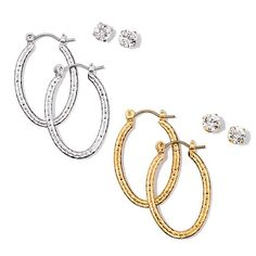 "This set will definitely be your go-to style staple. Hoops, 1"" diam. with matching studs. Regularly $14.99, buy Avon Jewelry online at http://eseagren.avonrepresentative.com"