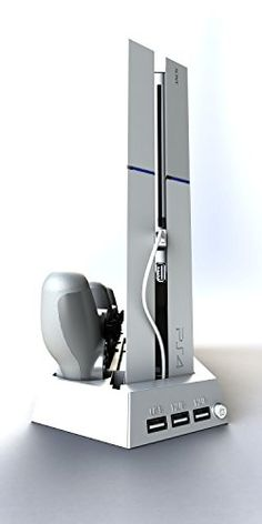 SpinzTM Playstation 4 Vertical Cooling Stand with 2 Fans  Include Dual Charger Ports  Charging Station for Dual Shock Controllers  3 USB Ports  WHITE for PS4 ** Find out more about the great product at the image link.