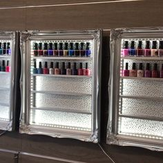 Shimmering, sparkling, twinkling glamour for your salon or home You are in the right place about mak Nail Polish Hacks, Nail Polish Storage, Nail Polish Crafts, Nail Polish Bottles, Nail Polish Art, Nail Polish Designs, Nail Polish Wall Rack, Nail Polish Holder, Home Nail Salon