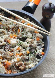 Arroz salvaje con pollo y setas. Receta económica Pollo Recipe, Beef Stroganoff, Love Food, Tapas, Risotto, Appetizers, Healthy Eating, Rice, Vegetarian