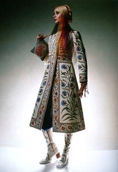Maudie James, hand-painted wool crepe coat by Bellville Sassoon - Vogue UK November 1970