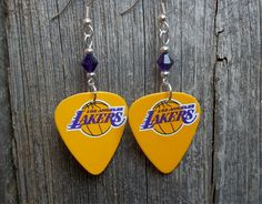 Yellow Lakers Guitar Picks with Purple Crystals by ItsYourPickToo on Etsy