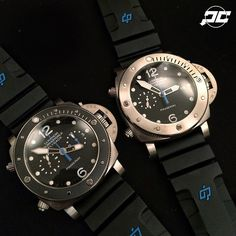 The new submersible Twins from Panerai SIHH2015! Which would you want to take home. Both pieces feature  47mm Titanium cases. PAM614 & PAM615.