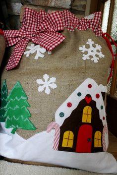 Natural Hessian Burlap GINGERBREAD HOUSE Christmas Sack. $61.00, via Etsy.