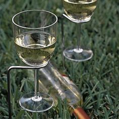 Crate and Barrel outdoor accessories - Wine stands for a picnic. Wine Stand, 10 Essentials, Camping Essentials, Wine Glass Holder, Wine Holders, Backyard Bbq, Backyard Parties, Beach Picnic, Summer Bbq