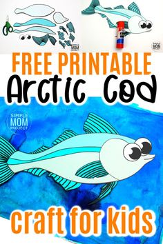 Fish crafts are not only great for summer but great for winter too! How cool is this arctic cod fish craft? Use the free printable arctic cod fish template to make this easy underwater ocean animal. He is perfect for kids of all ages including preschool, kindergartner, toddler #fishcraft #arcticanimal #arcticcodcraft #oceananimals #SimpleMomProject Ocean Theme Crafts, Ocean Animal Crafts, Animal Crafts For Kids, Winter Crafts For Kids, Easy Crafts For Kids, Toddler Crafts, Printable Crafts, Free Printable, Art Activities For Toddlers