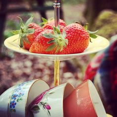 Strawberries on a cake stand, vintage picnic. China hire from Constance Wallace Tea Shop in Barnt Green