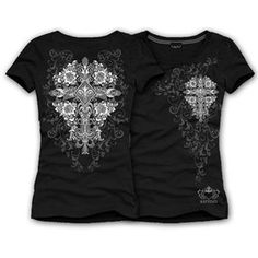 Katydid Black Rhinestone Cross Short Sleeve Tee Shirt