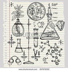 Hand drawn cool science beautiful laboratory icons sketch. Vector illustration. Back to School. Science lab objects doodle style sketch, Laboratory equipment. Note book page paper.