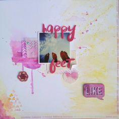 Happy feet layout #elscrapdero #layout #scrapbooking #mixedmedia #colorful