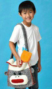 Free Crochet pattern!  Sock Monkey Crochet Bag.  Great over night bag for boys or girls of all ages.