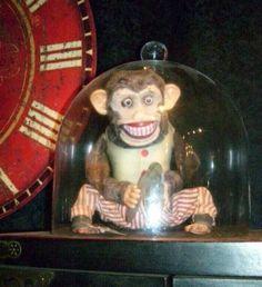 Creepy Monkey Under Glass Roger's Gardens Halloween Decorations: Photo © Lisa Hallett Taylor Take an old toy like this cymbal-crashing by georgina