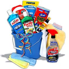 Men gift basket idea......Included are professional car washing mitt, Turtle Wax car wash soap, shop towels, Rain-X Glass Cleaner and Anti-fog treatment, car wax, wax applicator by Detailer's Choice, Armor All Interior Spray, and Black Magic tire wet. All these products arrive in a pour spout bucket complete with a sturdy handle.