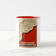 Vintage travel To Normandy France Two-Tone Coffee Mug  $19.70  by bartonleclaydesign  - custom gift idea