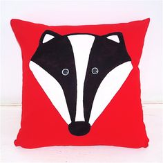 Dizzy Miss James - Unique Handmade Designs | Mr #Badger #Cushion - Hand Painted