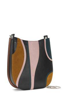Womens BOSS Handbags & Clutches (Green) BOSS BOSS Bespoke H S-G' | Italian Leather Patchwork Hobo Bag, Detachable Chain Strap Z18w6360