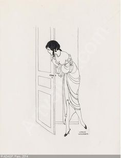 Gerda WegenerPeeking Around the Door 1920 sold by Swann Galleries, New York, on Thursday, January 22, 2015