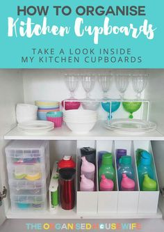Keeping the kitchen cabinets tidy can be an endless battle especially if the kids are helping to put away the clean dishes. However, if you make defined spaces for crockery, plastics, cutlery etc this will help the family place everything back into the ri Home Organisation, Kitchen Cabinet Organization, Organization Hacks, Kitchen Storage, Cabinet Ideas, Baby Bottle Organization, Water Bottle Storage, Dollar Store Organization, Organization Ideas For The Home