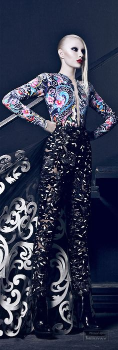 Nicolas Jebran.FALL-WINTER 2014-2015. I love the contrast in the patterns on top to the bottom