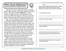 Printables Science Comprehension Worksheets comprehension worksheets and physical science on what causes reflections 3rd grade reading worksheet