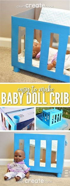 Reuse a box to create a DIY baby doll crib for hours of fun! via Reuse a box to create a DIY baby doll crib for hours of fun! Your kids will enjoy playing with this inexpensive upcycled project. Diy Dolls Crib, Baby Doll Crib, Diy Crib, Doll Beds, Will Turner, Baby Doll Furniture, Dollhouse Furniture, Furniture Ideas, Furniture Vintage