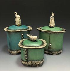 Lidded Boxes by Babette Harvey Ceramic Boxes, Ceramic Jars, Ceramic Clay, Ceramic Jewelry, Pottery Pots, Slab Pottery, Ceramic Pottery, Clay Box, Slab Ceramics