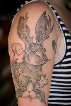 kirstenmakestattoos:  Jackalope, trillium, fiddlehead and California poppy for a new Oregonian. So nice to see you at Wonderland again, Aubrey! Welcome to the state!  Kirsten Holliday