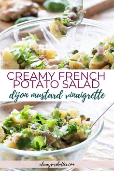 Try the best easy, homemade French potato salad! Without mayo, eggs or any dairy products it's made creamy the traditional French way with a dijon mustard dressing – which makes it vegan, gluten free and dairy free.