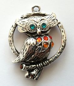 Awesome large pewter owl pendant with by Peachykeenthings on Etsy