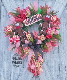 Front Door wreath with sweet gingerbread. One with his head bitten. hahaha, The kids would love this wreath up for the holidays. #pinklimewreaths #gingerbreadwreath #frontdoorwreaths #gingerbreaddecor #christmaswreath Christmas Wreaths For Front Door, Holiday Wreaths, Holiday Fun, Christmas Ideas, Christmas Decorations, Holiday Decor, Whimsical Christmas, Beautiful Christmas, Trendy Tree