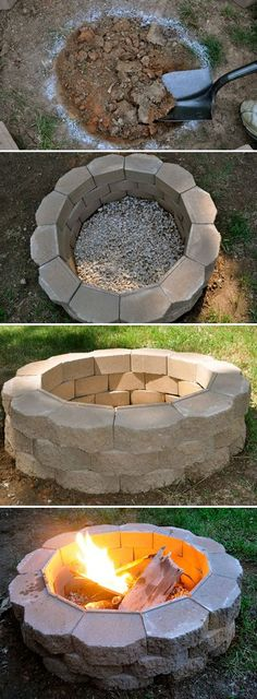 DIY Project: How to Build a Back Yard Fire Pit! Super easy & cheap! Took just a couple of hours & the bricks (40 of them) were $1.25 each