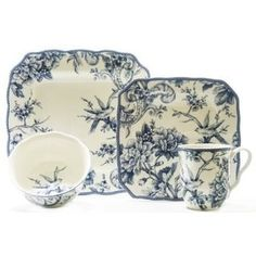 Adelaide Blue 16-piece Dinnerware Set | Overstock.com Shopping - The Best Deals on Casual Dinnerware