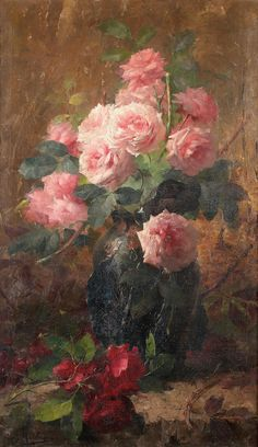 pink....red...roses...love the crackle on the canvas...