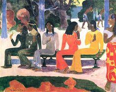 Paul Gauguin, We gaan vandaag niet naar de markt (of: 'Ta Matete'), 1892, olieverf op doek, 73 x 92 cm, Kunstmuseum Basel, Zwitserland