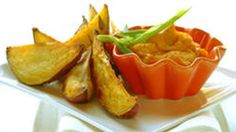 Roast Potato Wedges with a Creamy Butternut Dip recipe Roasted Potato Wedges, Potato Wedges Recipe, Sweet Potato Wedges, Roasted Potatoes, Vegetarian Appetizers, Vegetarian Recipes Dinner, Savory Snacks, Easy Dinner Recipes, Easy Recipes