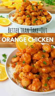 Orange Chicken that is better than take-out. How to make ORANGE CHICKEN at home with a sweet orange sauce. Chinese Orange Chicken that is better than take-out. How to make ORANGE CHICKEN at home with a sweet orange sauce. Orange Chicken Sauce, Chinese Orange Chicken, Healthy Orange Chicken, Crockpot Orange Chicken, Recipe For Orange Chicken, Baked Orange Chicken, Home Made Orange Chicken, 3 Ingredient Orange Chicken Recipe, Chinese Orange Sauce Recipe