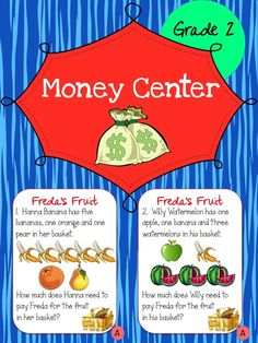 Money - These card sets (3 sets of 20) can be used for small group, centers, morning warm-up, normal classroom work or even as an assessment. They are intended to help students learn how to count and add money. Students are required to read each money related word problem on each card and then consult the poster that has the prices listed on it for each item of fruit. The students then have to add up the various items of fruit and solve for how much it would cost to purchase those items. $4