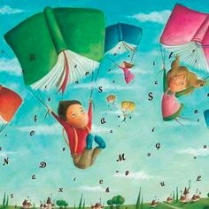 Book Parachutes #literature #books #reading #reader #art #drawing #illustration #booklovers #children #childhood #flying #letters