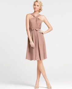 Silk Georgette Keyhole Halter Bridesmaid Dress