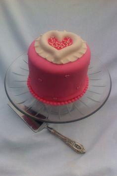 Valentine's Day Fondant Decorated Pink Heart Cake by NenesBakeShop, $45.00