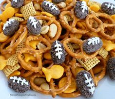 Football snack mix with dark chocolate almond footballs #snacks #football