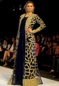 Gorgeous gold and navy floor length jacket. Arabian Fashion Inspired.