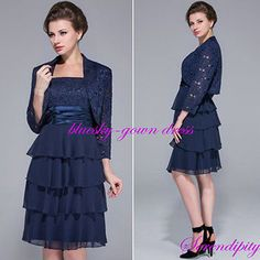 Navy Lace Mother of the Bride Outfits Formal Evening Dresses Bridal Gowns Custom