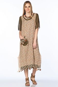 otantik elbiseler | Otantik Bezirgan Elbise - Ekru