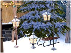 Lampes d'extérieur enneigées