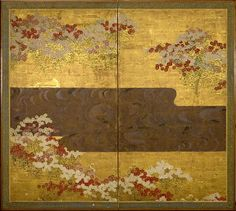 Ogata Kōrin, Red and White FLowers in Bloom by a Flowing Stream, 18th C, 2 panel screen ink color gold silver on paper