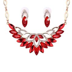 Wholesale Fashion Ladies Red Crystal Beautiful Flowers Pendant Statement Necklace Earrings Jewelry Set Free shipping!