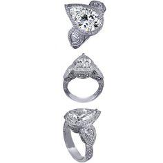 Three Stone Large Pear Shape Diamond Halo Engagement Ring