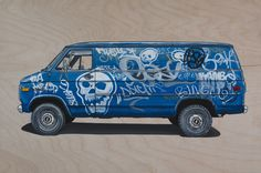 A series of twenty vans based on Vandura, Chevy, and Econoline Chateau vans documented in Brooklyn, New York. Oil and silkscreen on panel.